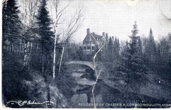 Postcard of Glensheen from the lake, 1911.