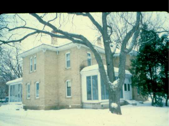 A photograph of the Porter Kelsey House showing the light color of the Kelsey brick used to build the house. Photographer and date unknown. Anoka County Historical Society, Object ID# 0000.0000.325.