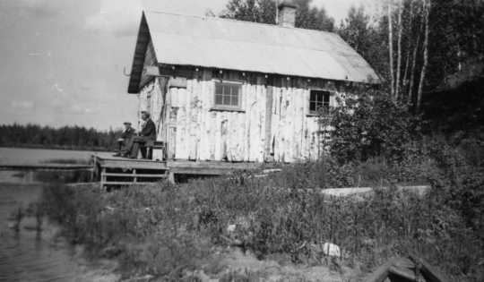 Black and white photograph of a sauna on the shore of North Star Lake, 1937.