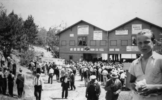 Black and white photograph of a Fourth of July festival at Co-opMesaba Park, 1937.