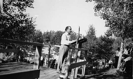 Black and white photograph of Congressman John T. Bernard at Mesaba Co-op Park, 1938.