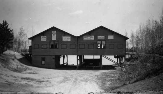 Black and white photograph of Mesaba Co-op Park's dance pavilion, 1937.