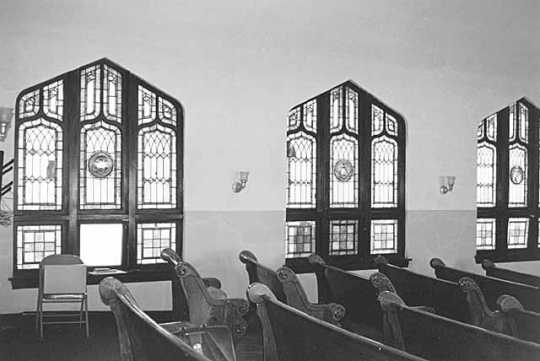 Black and white photograph of St. Mark's African Methodist Episcopal Church interior, Duluth. Photographed in 1975.