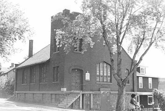 Black and white photograph of St. Mark's African Methodist Episcopal Church, Duluth. Photographed in 1975.