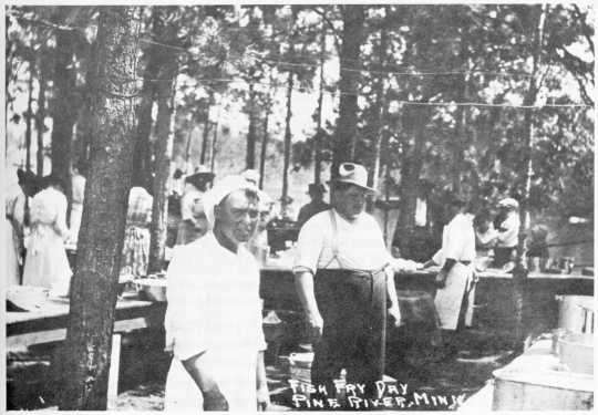 Fish Fry cooks at Norway Brook, Pine River MN, 1920s.