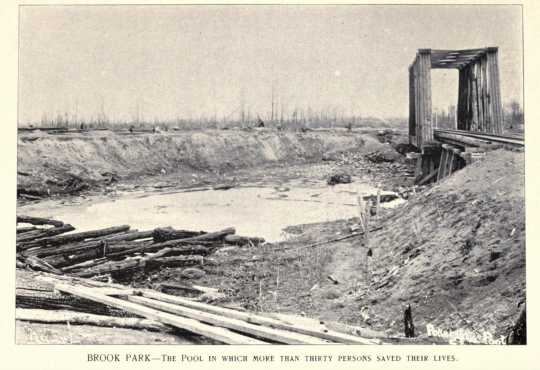 Black and white photograph of Brook Park (Pokegama) after a catastrophic fire, ca. 1894.