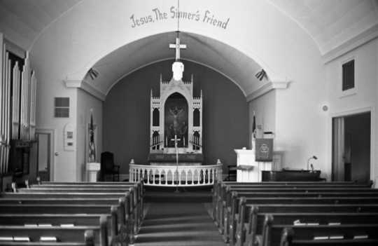 Black and white photograph of the altar of Old Westbrook Church, Cottonwood County, 1972. Photograph by Clifford M. Renshaw.