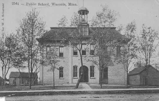 Postcard with an image of Waconia public school in 1900. Created by the St. Paul Souvenir Company in St. Paul.  Photograph Collection, Carver County Historical Society, Waconia.