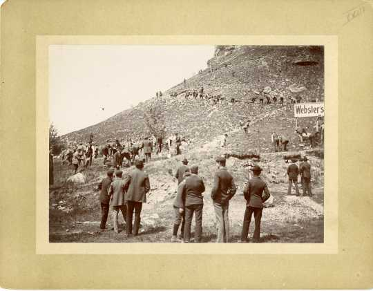 photograph depicting a group constructing a path up Barn Bluff