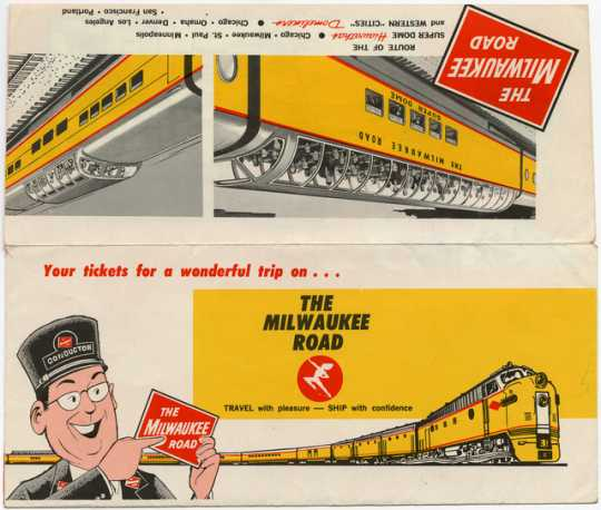 Milwaukee Road ticket envelope issued to Paul Clement on December 27, 1966.