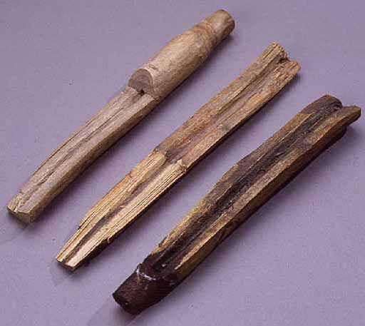 Image of wooden sap spigots