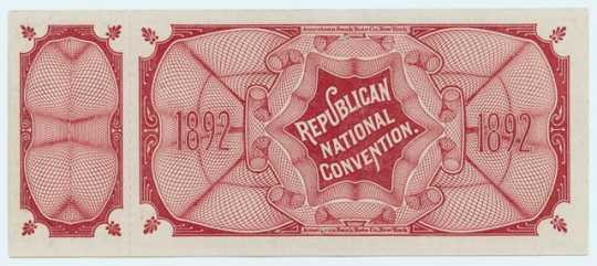 Republican National Convention ticket (back)