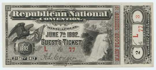 Republican National Convention ticket (front)