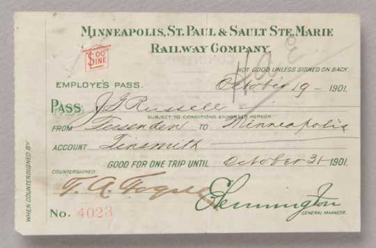 Soo Line Railway employee pass