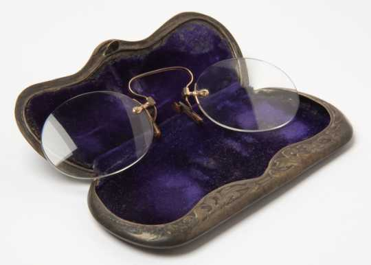 Pince-nez spectacles and case