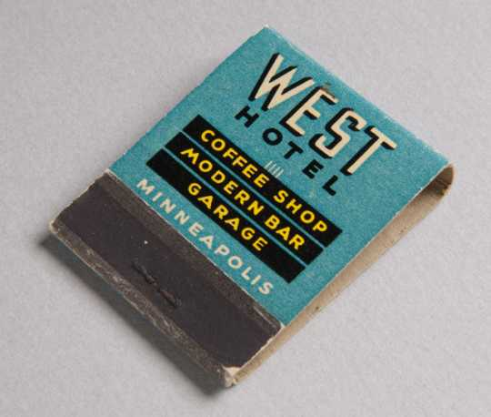 West Hotel matchbook (front)