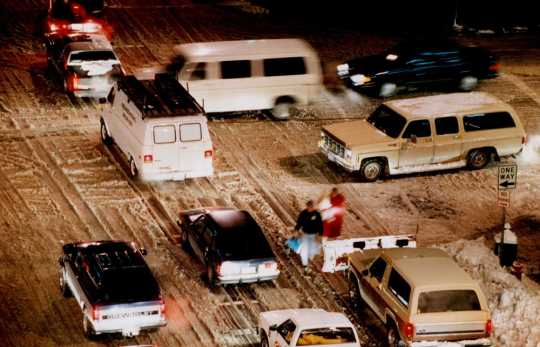 Color image of traffic in Minneapolis after the Halloween Blizzard, 1991. Photograph by Bruce Bisping, Minneapolis Star Tribune.