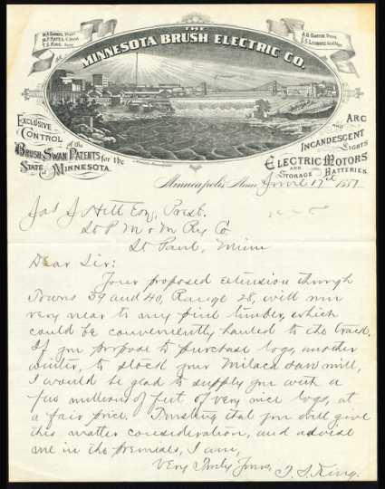 Minnesota Brush Electric Company letterhead, 1887