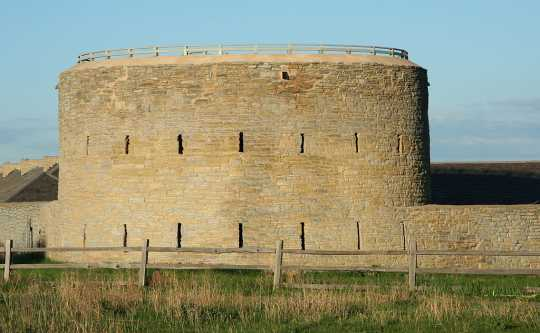 Color image of the Round Tower at Historic Fort Snelling, 2010. Photograph by Wikimedia Commons user Jonathunder.