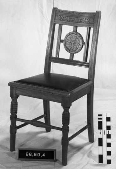 Color image of a Eastlake upholstered side chair, used in the second state capitol, ca. 1890s.