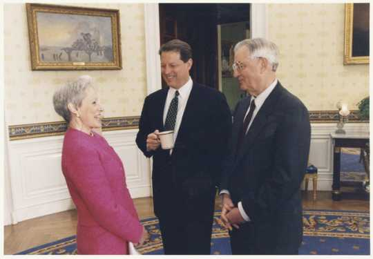 Walter Mondale, Vice President Al Gore, and Senator Nancy Kassebaum Baker