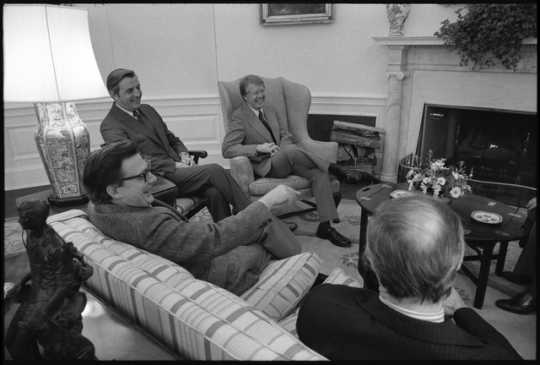 Vice President Walter Mondale meets with President Jimmy Carter and White House staff