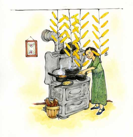 Drawing of racks of corn suspended over a warm kitchen stove.