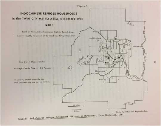 Scan of a documents showing Indochinese Refugee Households in the Twin City Metro Area, December 1980.