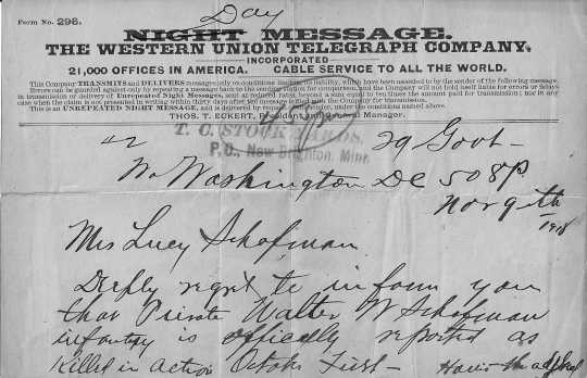 Scan of the telegram telling Lizzie Schafman that her son was killed in action, 1918. Used with permission of the New Brighton Area Historical Society.