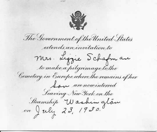 Black and white scan of Lizzie Schafman's pilgrimage invitation, ca.1929. Used with permission of the New Brighton Area Historical Society.
