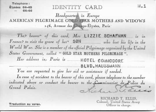 "Black and white scan of Lizzie Schafman's ""Identity Card"" to use in France, 1930."