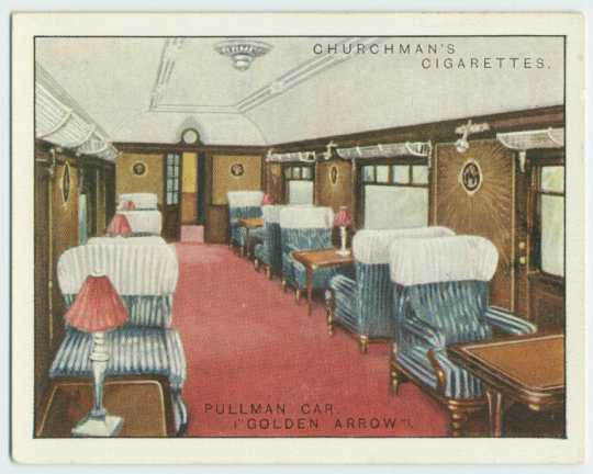 Color Cigarette card of the Pullman Golden Express, c.1915. Courtesy New York Public Library.
