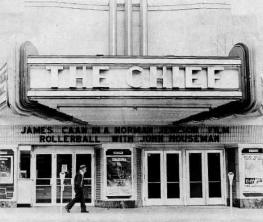 Exterior of the Chief Theatre in Bemidji, 1975.