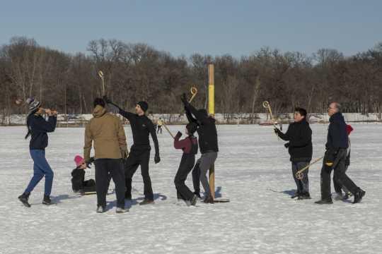 Community lacrosse game at Lake Harriet