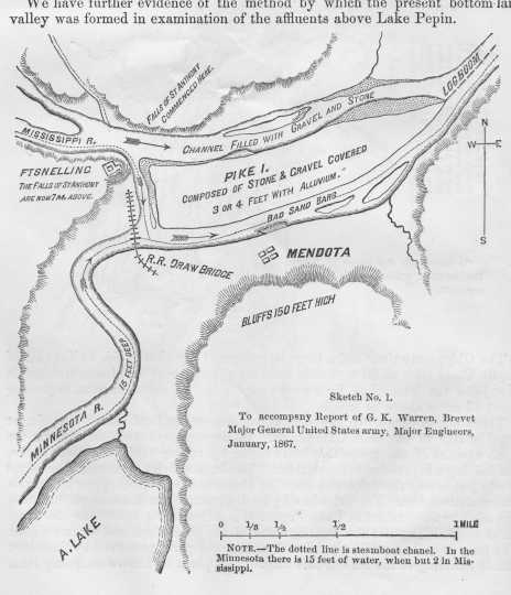 Survey of the confluence of the Minnesota and Mississippi Rivers at Fort Snelling at Bdóte in Survey of Upper Mississippi River (page 14).