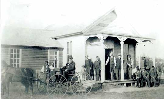 Black and white photograph of the original Murray County Courthouse, Currie, 1880s.