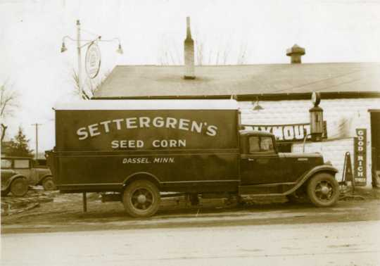 Black and white photograph of a Settergren Seed Corn delivery truck, c.1930s.