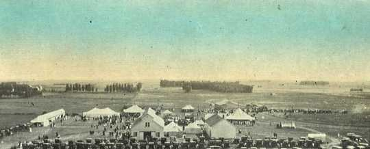 Colorized postcard depicting the Murray County Fairgrounds in Slayton, 1912.