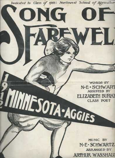 "Front cover of sheet music for the NWSA class of 1912's ""Song of Farwell,"" written by N. E. Schwartz."