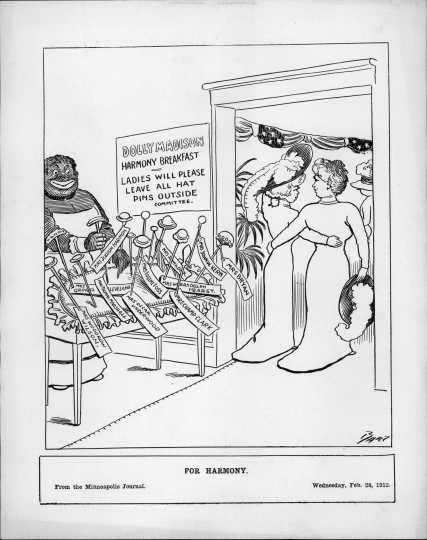A political cartoon by Charles Bartholomew published in the Minneapolis Journal on February 28, 1912.