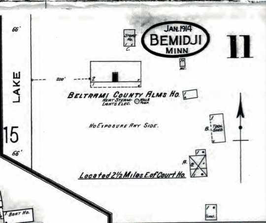 Map of layout of Beltrami County Poor Farm