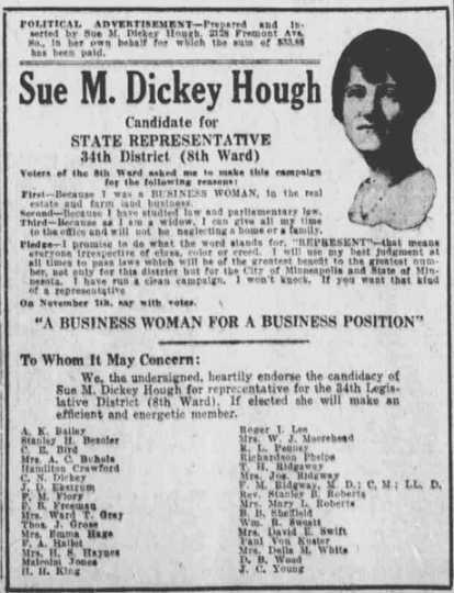 Campaign ad for Sue M. Dickey Hugh