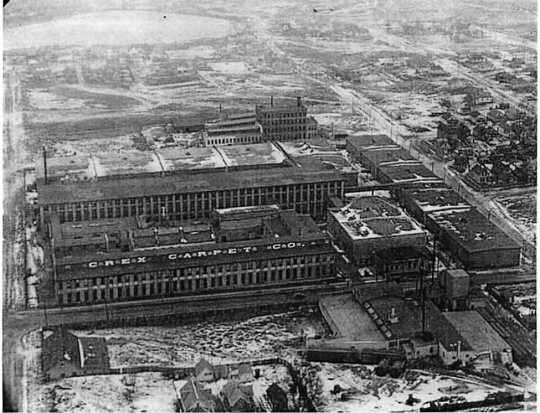 Black and white aerial photograph of the Crex Carpet Company, c.1928.