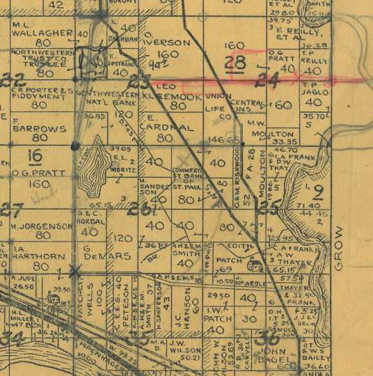 This section of the 1932 plat map of Ramsey shows the location of the Ramsey schoolhouse in the middle bottom of section 25, within land owned by Edith Patch. The site sits west of the Rum River.