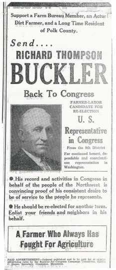 Pamphlet promoting Richard Thompson Buckler, a Farm Bureau member, for re-election to the U.S. House of Representatives.