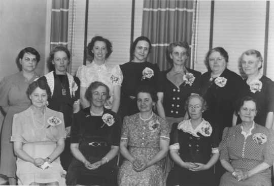 Black and white photograph of Former Crookston BPW presidents, 1942.