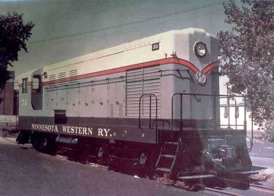 Color image of a  Minnesota Western diesel locomotive #51, a Fairbanks-Morse H10-44.