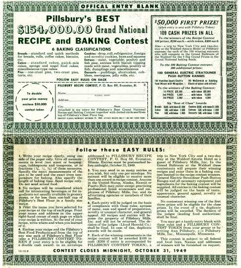 Bake-Off Entry Form, 1949