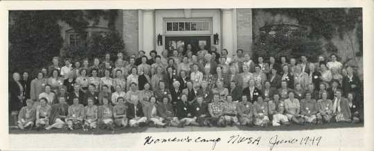 Black and white photograph of the NWSA's camp for farmers' wives, hosted by the Farm Bureau on the NWSA campus, June 7–9, 1949.