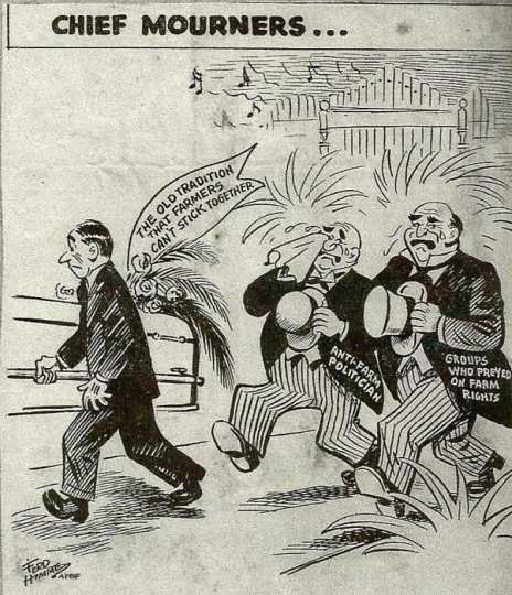 Pro-Farm Bureau cartoon critical of anti-farm politicians, 1955.